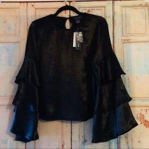 Gracia black blouse with layered belle sleeve NWT